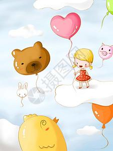牵着气球飞上云朵的小女孩图片