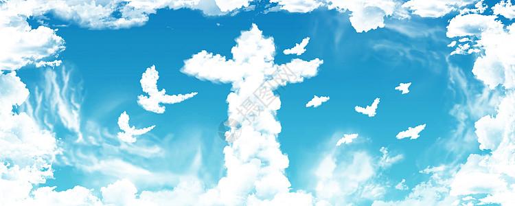 天空华表创意背景图片