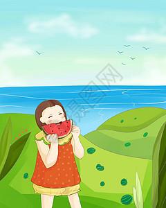 海边吃西瓜的小女孩图片