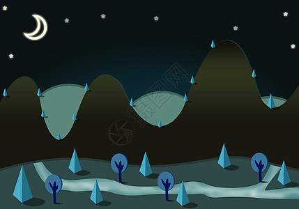 夜色天空手绘插画图片