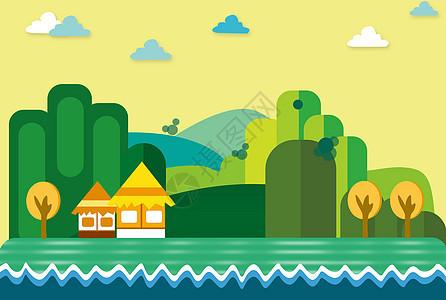 河边上的茅草屋图片