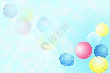 浅蓝绿色系彩球白云梦幻背景图片