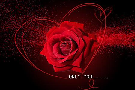 炫酷红色玫瑰爱情黑色背景图片