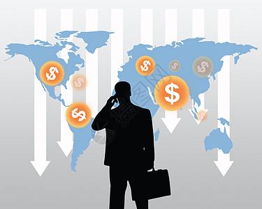 股票市场崩溃与商人图片