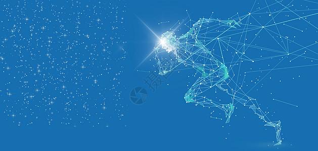 科技人形线条跑步炫酷蓝色背景图片