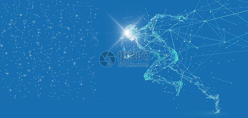 科技人形线条跑步炫酷蓝色背景
