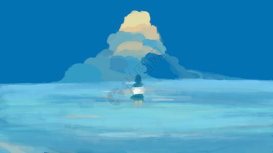 蓝色海洋女孩夏季插画图片