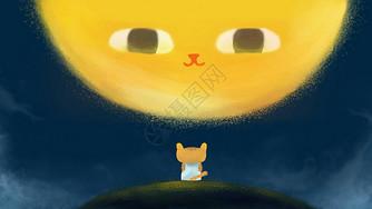 儿童插画夜晚猫图片