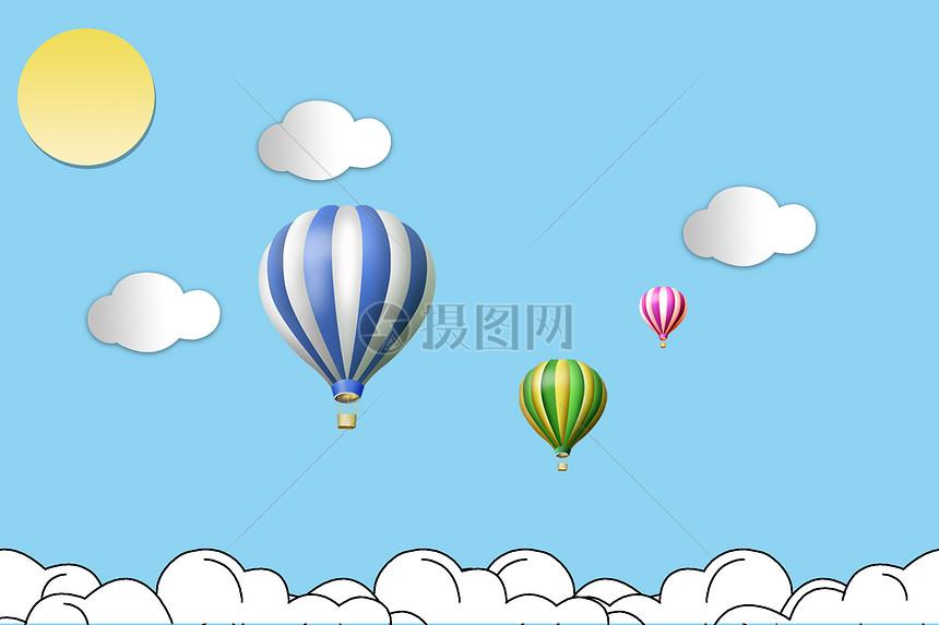 手绘蓝天与热气球