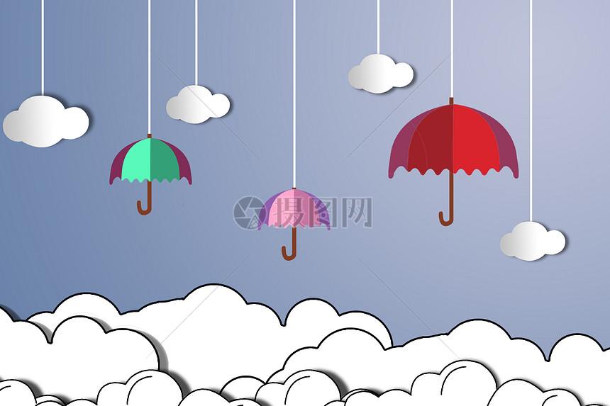 手绘雨伞与白云