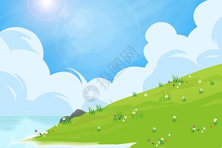 蓝天白云海水青草地背景图片