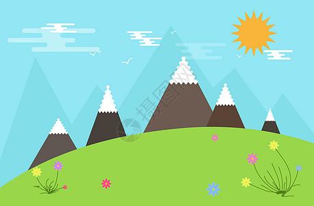 卡通山峰背景图片