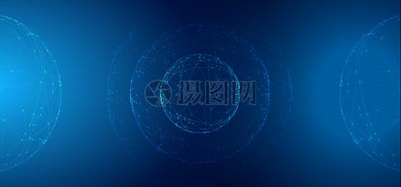 科技线条球信息技术蓝色背景图片