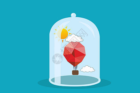 手绘玻璃罩与热气球图片