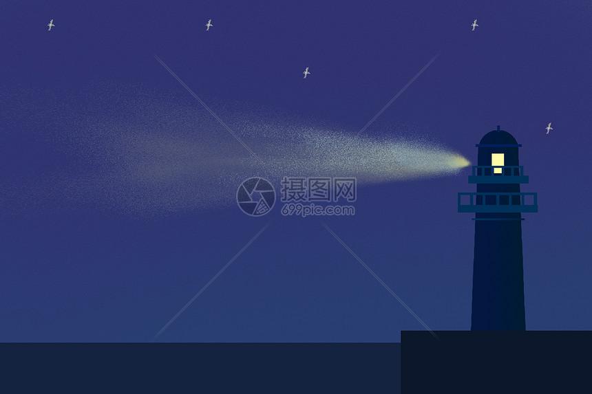 手绘灯塔照明背景