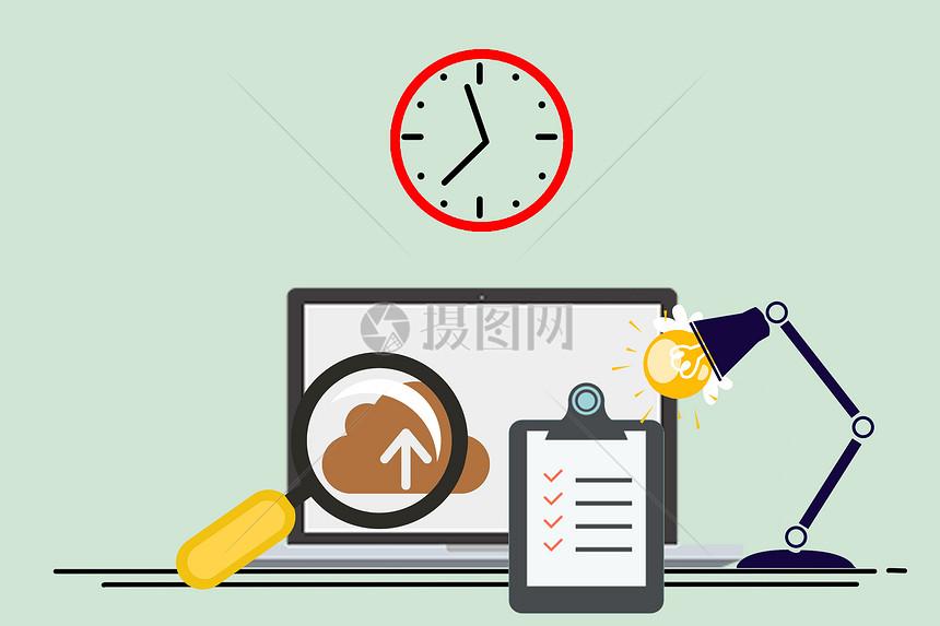 手绘电脑与钟表