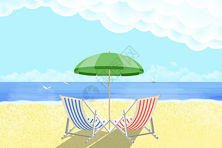 阳光海滩风景背景图片