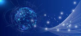科技地球线条信息技术蓝色背景图片