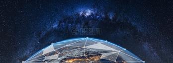蓝色能量罩保护地球图片