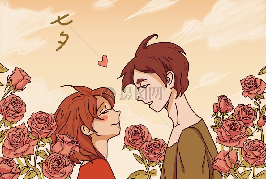 玫瑰丛中的恋人图片