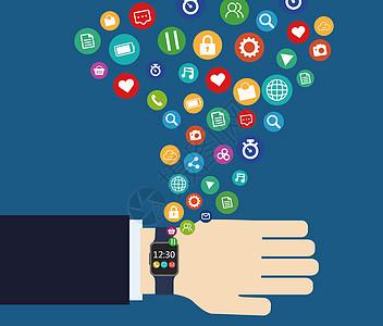 手带手表体现互联网商业科技图标图片