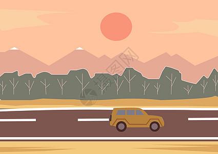 远方在路上公路插画图片