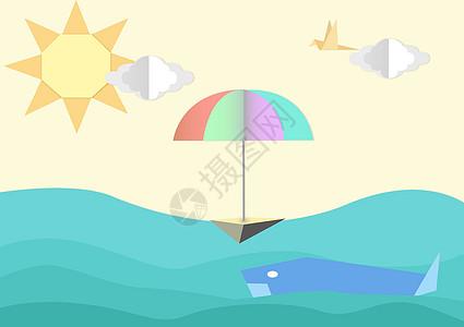 儿童海洋鲸鱼彩虹伞插画图片