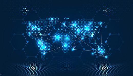 科技地图线条信息技术蓝色背景图片