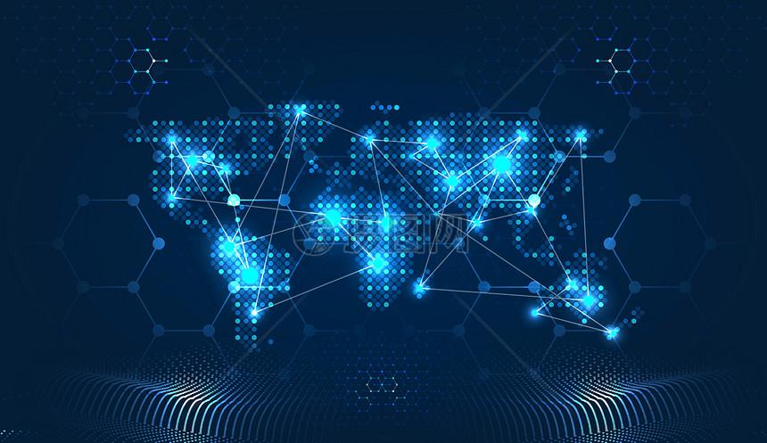 科技地图线条信息技术蓝色背景