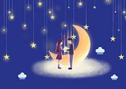 夜晚天空中的月亮图片