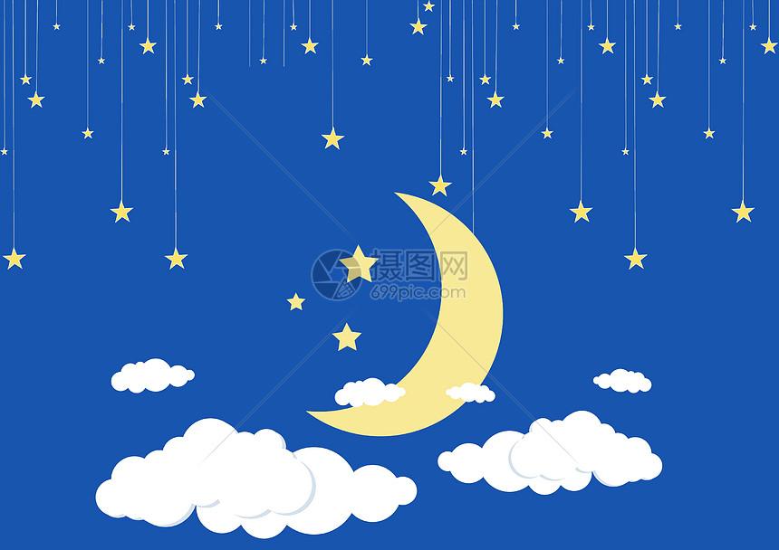 标签: 星星月亮白云蓝色天空天空夜空云彩卡通可爱中秋夜空中的月亮