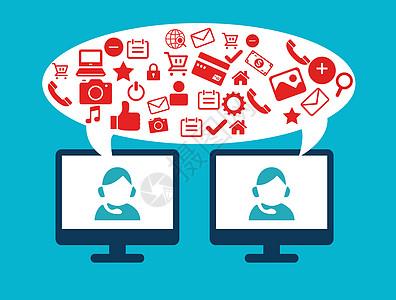 矢量图电脑客服购物社交媒体图片
