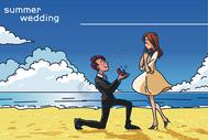 夏日海滩求婚图片