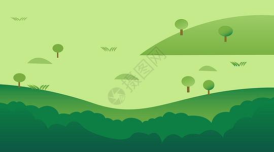 清新丛林草地背景插画图片