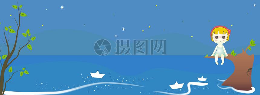 卡通矢量海夜空背景