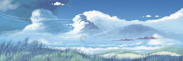 蓝天白云插画图片