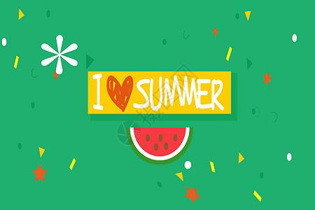 西瓜清新夏日背景图片