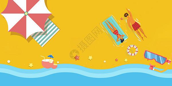 夏日清凉海滩假期背景图片