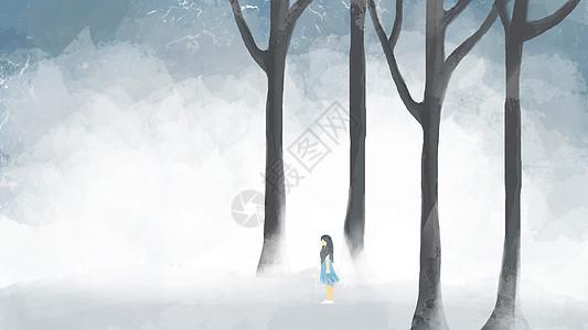 森林氛围女孩插画图片