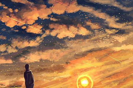 夜空中最亮的星插画图片