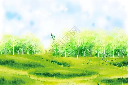 夏日清新田园背景图片