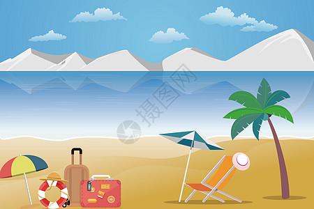 海边沙滩座椅太阳伞图片