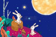 中秋节玉兔望月海报图片