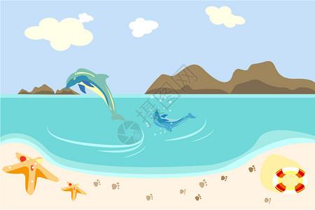 宁静海边大海豚小海豚游泳玩耍图片