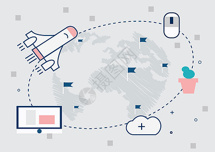 信息化一体化云数据背景图片