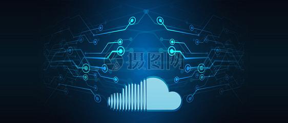 科技云线条背景图片