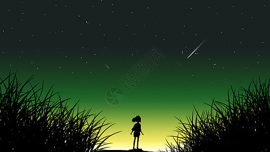 夜空下看流星的女孩图片