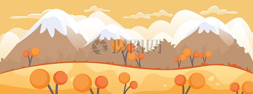 卡通矢量秋天森林背景