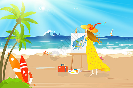 海边画画图片