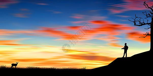 夕阳下的摄影者图片